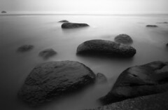 Stepping stones, 30 seconds (Zeb Andrews) Tags: ocean longexposure bw film oregon seascapes stones pinhole pacificocean pacificnorthwest zeroimage hugpoint zero69 bluemooncamera zebandrews zebandrewsphotography