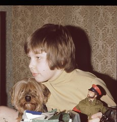 Me as a small child avec le terrier Yorkshire et l'Homme d'Action. (Eleventh Earl of Mar) Tags: boy dog haircut film me beard child scanner son 1970s landrover actionman 7200 plustek