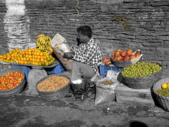 A day in the life of a Fruit-seller (VIjay Pandey) Tags: red vijay orange india green apple fruits yellow fruit tomato berry grain harvest banana crop nut date root sell product seller pandey groundnut pome drupe supershot impressedbeauty vijaypandey