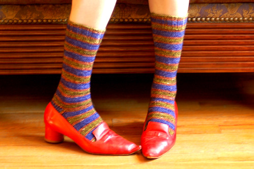 Stripey socks with tomato red shoes