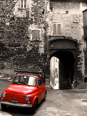 The past return (Claudio Vaccaro) Tags: red bw italy white black out italia fiat cut bn comunicazione e 500 bianco nero fiat500 abruzzo copywriting scanno clydeye flickrdiamond claudiovaccaro