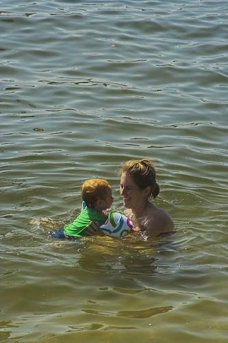 Nicole and Eloise Swimming at Mooloolaba