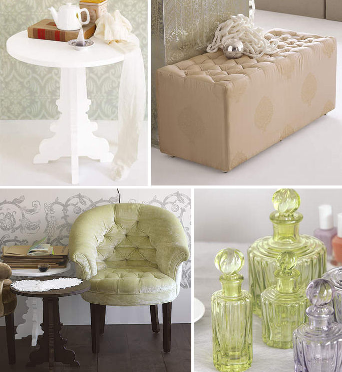 The silhouette pedestal side table   169  is another darling find  along  with a tufted cube that is large enough for the foot of your bed   399. Brocade Home  New  Shopping Online    decor8