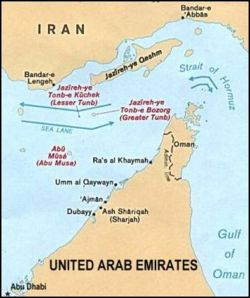Map of the Strait of Hormuz