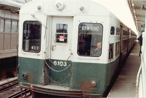 CTA 6000 series car on the Snowflake Special fantrip. March 17th 1985. by Eddie from Chicago