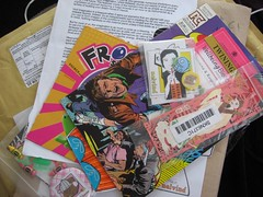 comics and treasures and garbage, oh my! (moxie lieberman) Tags: trade artexchange melvind embarrassmentofriches