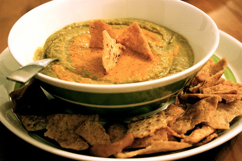 Broccoli Lentil Soup with Roasted Pepper Coulis