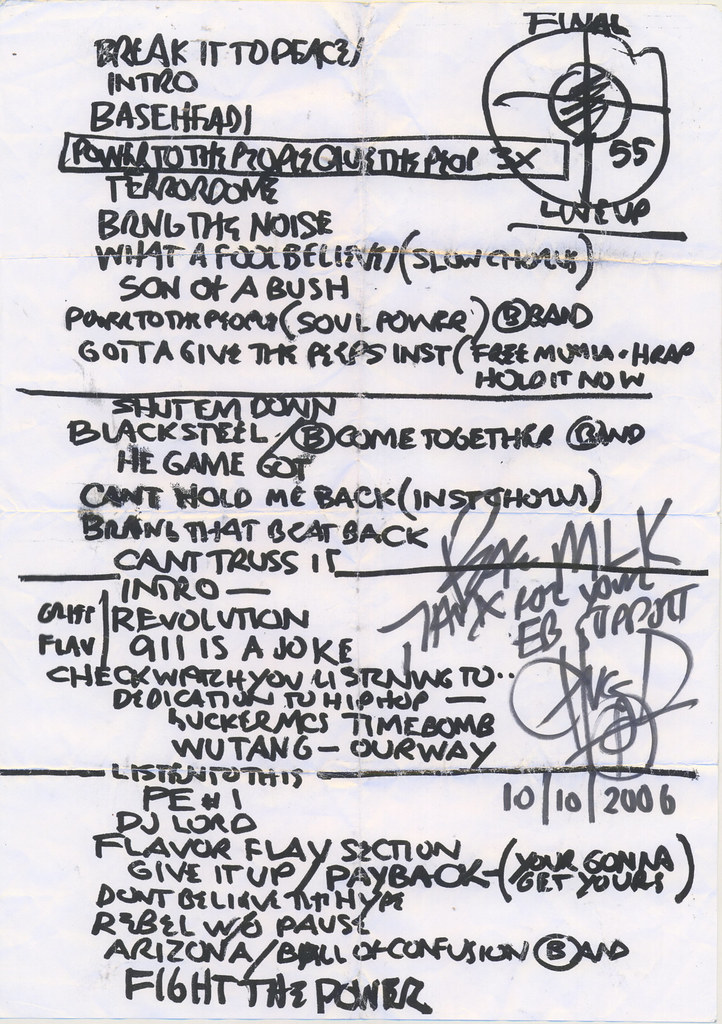 10.10.2006 Public Enemy Live in Wolverhampton, UK tracklist with Chuck D autograph