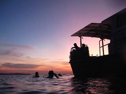 Divers descend into a dark sea beneath lavender and indigo-coloured skies