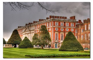 Hampton Court Palace on a rainy day