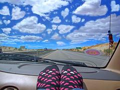 The World Looks So Good When You're Wearing Heart Socks (janoid) Tags: blue sky feet socks clouds hearts heart nevada roadtrip etc really splendiferous xoxoxoxoxox saturdaysilliness heartclouds hellotomartinlabar heartshapedclouds sinceweweredrivinganddrivinganddrivingyesterdayimissedsaturdaysilliness sothiswillbeasundaysillinessphotoinstead thetripwasgoodexceptfortheblizzardweencounteredonthursdaymorning itwasliterallyawhiteout wefollowedsnowplowsafewtimesastheroadswerecompletelycoveredwithsnow thentherewasthetypicaltrafficonthei10inlosangeles atonepointweweredelayedforoveranhourandahalfbecausecaltransshutdown2ofthe4trafficlanesfornoapparentreason thentherewasthestandstillonthei15duetoanaccidentsomewheremilesahead itookapictureofallofusoutofourcarswalkingaroundonthehighwayillpostitlaterintheweek butbesidesthesnowstormatthebeginningofourdrivetheweatherwasbeautiful andtherewasthisamazingthingthathappenedwhenitookoffmyshoesandputmyheartsocksonthedashboard thecloudsstartedtolooklikehearts igrabbedmycameratoproveit andtoshareitwithyou itwasthebestpartofthetrip cloudhearts cloudsshapedlikehearts