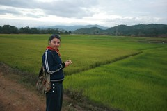 Meg and rice field