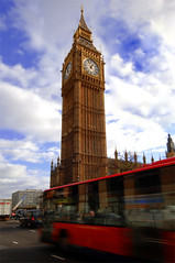 Big ben (majedphotos.com) Tags: road street travel blue red sky white bus london tower clock window wheel big angle ben wide fast handheld panning vwc nikonstunninggallery kvwc kuwaitvoluntaryworkcenter kuwaitvwc