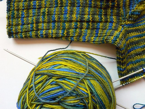greenish simple ribbed sock wip