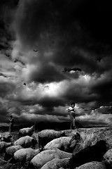The Little Shepherd (Luis Montemayor) Tags: sky blancoynegro clouds kid sheep shepherd cielo nubes pastor nio oveja myfavs ovejas tribesandhya