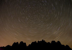 Behind the Rocks at Night (Scott Ingram Photography) Tags: nightphotography wallpaper sky nature beauty silhouette night circle stars landscape ilovenature utah sandstone background scenic spinning moab rotation 300 bestofthebest startrails behindtherocks polaris northstar nomoon abigfave sipbotbfs