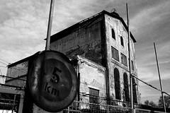 Old Industrial Building /Prague/ () Tags: old sunset shadow bw black detail industry architecture contrast fence blackwhite industrial prague decay highcontrast smichov forgotten noise complex leftbank noisy burned iso1600 unused