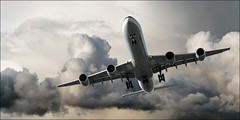 thunder (sharply_done) Tags: panorama storm clouds plane airplane flying aviation flight jet panoramic aeroplane airbus thunder airliner a340 340 sharplydone