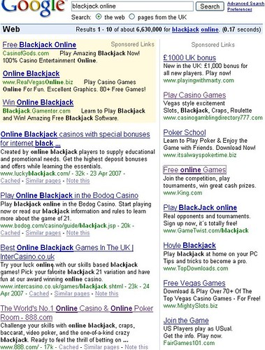 Screenshot of other gambling ads on Google Sponsored links