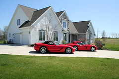 Two mid-life crisis Dodge Vipers (Chapendra) Tags: red house green grass outside indiana driveway dodge dads dodgeviper vipers reddodgevipers reddodgeviper
