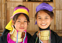 Different smiles... (Anas Bukhash (nascity)) Tags: ladies portrait smile neck thailand women long burma smiles karen longneck chiangmai myanmar brass burmese bodymodification hilltribe karentribe padaung kayan nascity longneckkarenladies karenladies padaunghilltribe