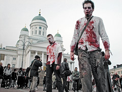 Zombie walk (Sameli) Tags: city red people man men church monster suomi finland dead blood helsinki zombie walk eerie creepy spooky gore horror monsters nightmare zombies kirkko kirkot raccooncity zombiewalk