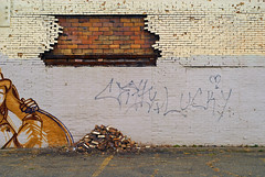 Indy#15581_Copy (Single-Tooth Productions) Tags: decay decaying neglect abandoned abandonedbuilding architecture architecturaldecay architecturaldetail architecturalcomposition composition colorblocks lines flat 2d bricks brickwall decayingbrickwall graffiti fail exteriorwall exteriorpaintedwall exteriorfailingwall scatherwoodave indianapolis indiana urban city building buildingdecay buildingcomposition urbandecay 50mm nikkor nikkor50mm nikond200 nikon