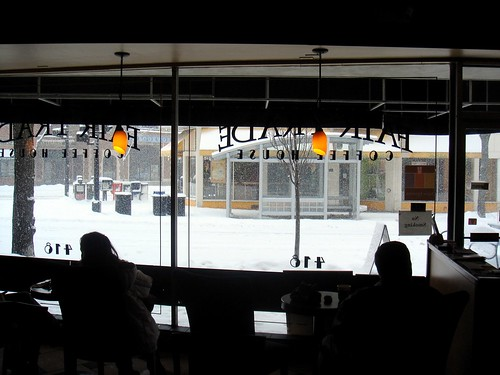 Looking at the snow through the café window