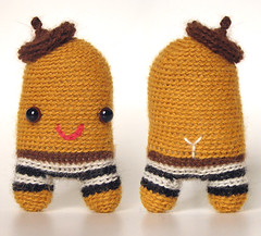 (sandra juto) Tags: alpaca wool crochet happy character softie toy mini asscrack buttcrack bumcrack stripes yellow beret brown black white french