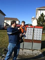 Daddy and Geoffrey check the mail (DNAMichaud) Tags: mailbox dean geoffrey