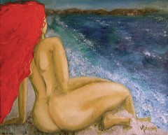 on the cliffs.JPG (vidamel) Tags: nude aegean greece paintingaday dailypainting