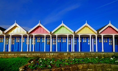 Beach Chalets, Greenhill, Weymouth (petervanallen) Tags: blue beach nikon huts bbc dorset pastels greenhill beachhuts weymouth hdr photomatix d80 1xp superbmasterpiece nilkond80 flickrchallengegroup flickrchallengewinner britaininpictures bbcredbutton