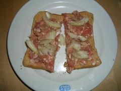 pork tartar, german delicacy, raw pork on bread