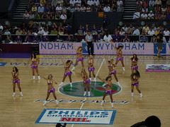 We have no idea what we're doing! (Janie Dose) Tags: girls basketball court dance cheerleaders dancers bikini babes cheer halftime squad sydneykings