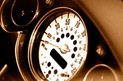 If the new mini came out 40 years ago... (Herman Au - http://www.hermanau.com) Tags: clock face speed cluster gas needle bmw minicooper dashboard speedometer gauge newmini milage acceleration hermanau