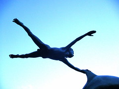 "Blues - ""Boy with Dolphin"" by David Wynne 1975 (londonconstant) Tags: uk england sculpture london bronze chelsea dolphin gb wynne riverthames sculptor albertbridge chelseaembankment sw3 davidwynne virtualmuseum londonconstant boywithdolphin riverthames1"