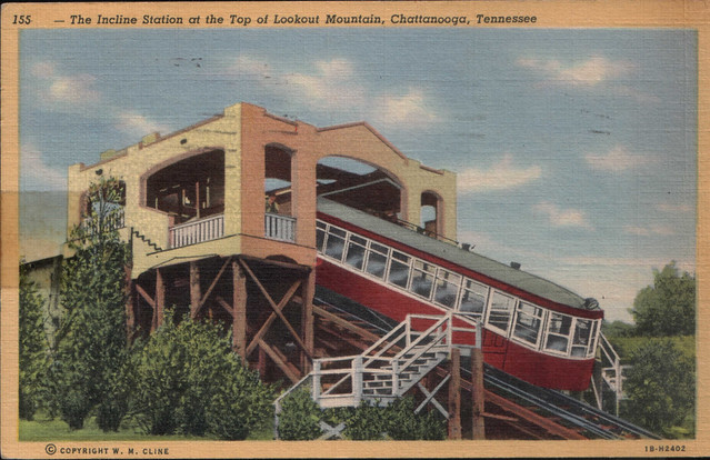 1946 post card: Lookout Mtn. Incline railroad