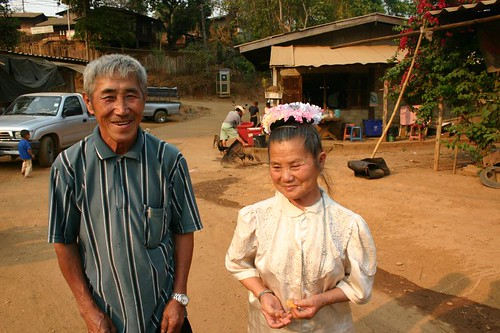 H'mong couple in the wooden village...