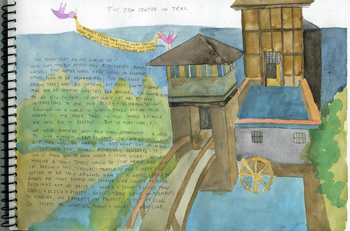 watercolor drawing of zen center in second life