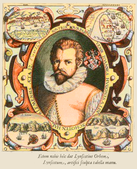 Portrait of Jan Huygen van Linschoten, from the princeps edition of his Itinerario