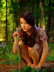 Stopped to Smell the Flowers (blaryphoto) Tags: flowers sun girl beautiful field grass lady photo pretty shoot grove gorgeous funky hippie elaine groovy thepainter
