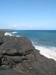 the bluest water (KickAssCanadian_Chick) Tags: ocean travel blue sky water sign volcano hawaii nationalpark rocks pacificocean bigisland kilauea maunaloa lavaflow chainofcratersroad canona620