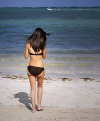 Step Into The Shadow (fotoJENica) Tags: ocean shadow sea sky beach girl hair mar mujer sand agua nikon pretty waves slim florida body longhair playa arena miamibeach swimsuit sombras oceano shapely viriginiakeybeach