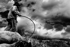 Going Home (Luis Montemayor) Tags: sky blackandwhite man blancoynegro clouds mexico sheep shepherd explore cielo nubes pastor hombre oveja ovejas iztaccihuatl