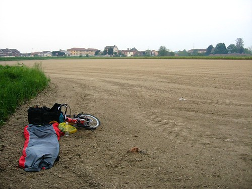 Sleeping spot in freshly cultivated field 10km south of Milano, Italy