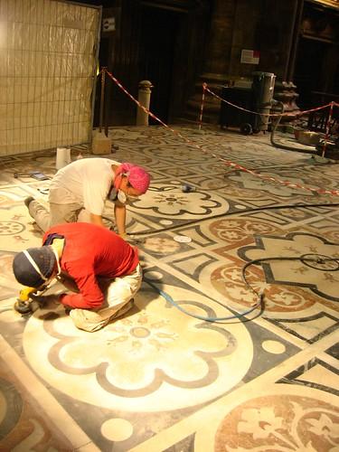 Restoration work inside Il Duomo di Milano, Milano, Italy