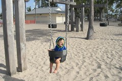 Swinging on the beach!