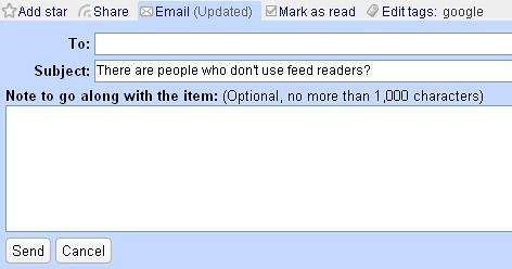 google reader email functie