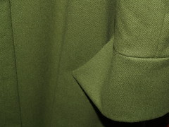 cuff front (Yorktown Road) Tags: green wool handmade sewing coat textile fabric flare cuff sleeve sewn madebyhand