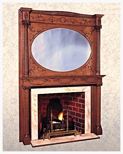 Mantles of Yesteryear Antique Reproduction Mantle with Mirrored Over Mantle